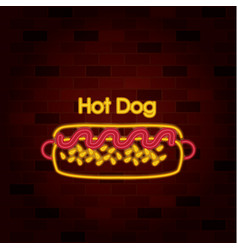 hot dog on neon sign on brick wall vector image