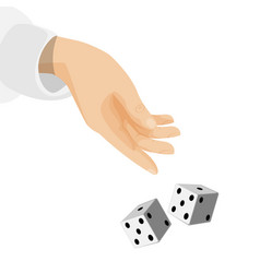 Human hand with sleeve and dice that drop down vector