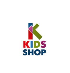 Icon letter k for kids shop vector