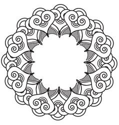 Indian henna tattoo inspired heart shapes wreath 2 vector