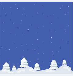 isolated forest on a blue square vector image