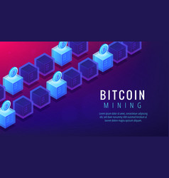 isometric bitcoin mining farm landing page concept vector image