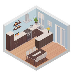 Isometric kitchen interior with cooking and dining vector
