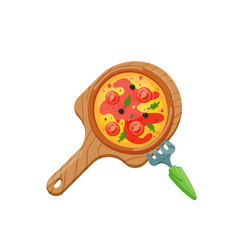 italian cook pizza icons vector image