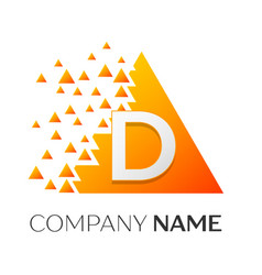 letter d logo symbol on colorful triangle vector image