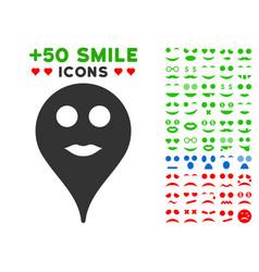 lips smiley map marker icon with bonus emotion set vector image