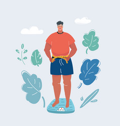 man stand on scale and measures him waist vector image