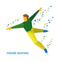 Mens single skating figure skater training vector