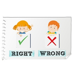 Opposite adjectives right and wrong vector image