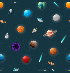 planets and spaceships pattern vector image