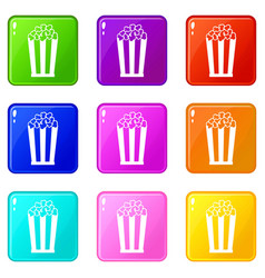 Popcorn in striped bucket set 9 vector