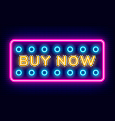 Purchase board buy now with neon light vector
