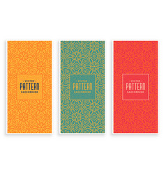 retro abstract floral pattern banners set vector image