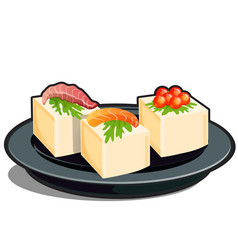 Seafood and cream cheese or butter isolated on a vector