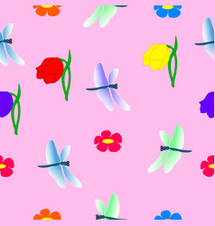 Seamless pattern dragonflies and flowers vector