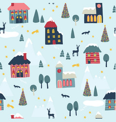 Seamless pattern winter christmas town vector