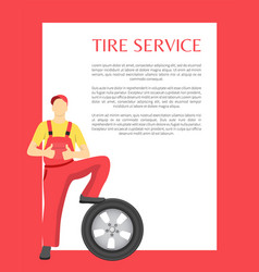 service poster and happy man vector image