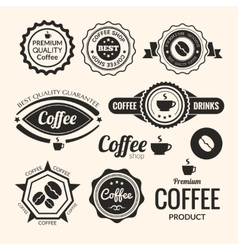 Set monochrome coffee labels and badges retro vector