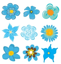 Set of blue flowers vector
