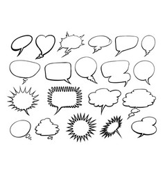 set of comic speech bubbles doodle vector image