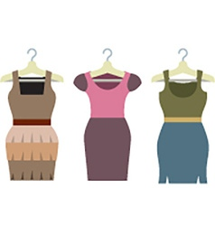Set Of Women Clothes With Hangers vector image
