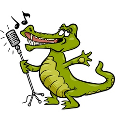 Singing crocodile cartoon vector