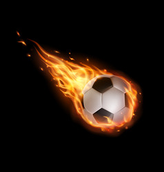soccer ball flying with fire tongues football vector image