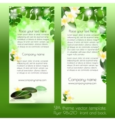 Spa card design template with leaves vector