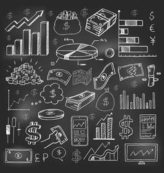 Stock market had drawn symbols on blackboard vector