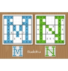 Sudoku set with answers M N letters vector