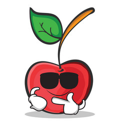 super cool cherry character cartoon style vector image