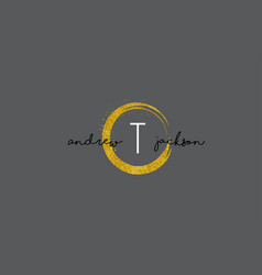 t letter logo design with gold rounded texture vector image