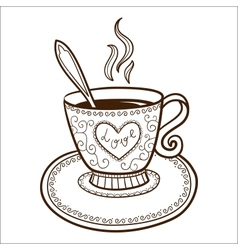 Tea or coffee cup with heart vector image