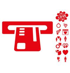 Ticket terminal icon with valentine bonus vector
