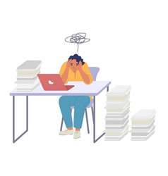 Tired woman employee sitting at desk in office vector
