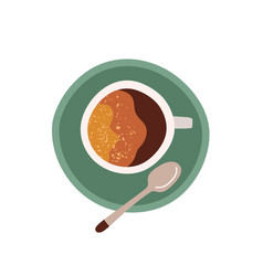 top view cup with saucer and tea spoon coffee vector image