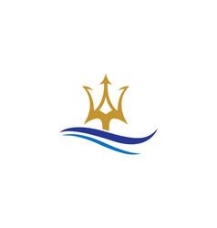 trident logo template icon design vector image