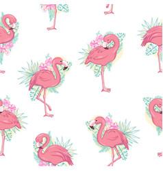 tropical flamingo pattern vector image