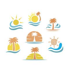 tropical summer logo set vector image