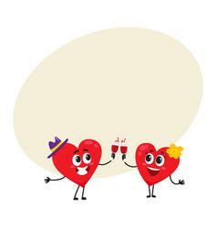 Two hearts clinking glasses celebrating couple vector