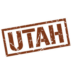 Utah brown square stamp vector