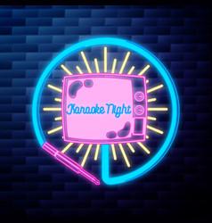 vintage karaoke emblem glowing neon vector image