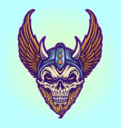 Warrior viking helmet horns wings vector