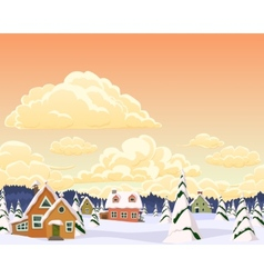 winter landscape with village and trees vector image