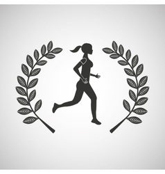 woman runner sport emblem laurel branch vector image