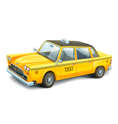 Yellow urban taxi cab isolated on white background vector
