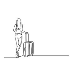 young woman with suitcase continuous one line vector image