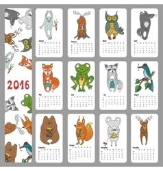 Calendar 2016Wild animals Woodland doodles vector image