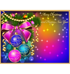 christmas background with baubles and ribbon Chris vector image