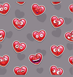 seamless pattern with funny red heart emoji vector image vector image